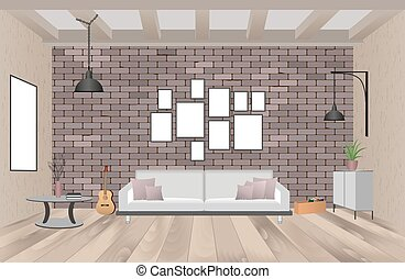 Living room interior with furniture in hipster style with empty frames, sofa, lamps, guitar and brick wall.