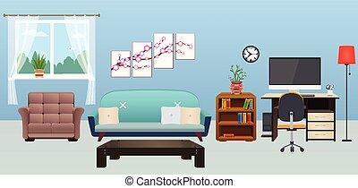 Living Room interior with furniture.