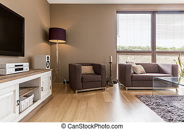 Living room interior with white commode - Living room ...