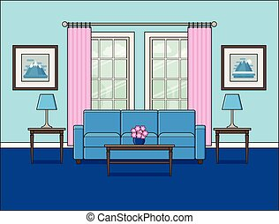 Living room interior with window in flat design. Vector illustration.