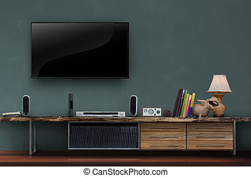 Living room led tv on dark green wall with wooden table media furniture