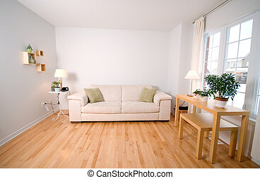 Living room - modern day living room with beige couch