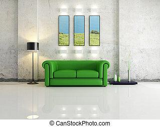 living room - modern interior with green sofa - digital ...