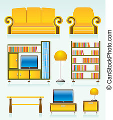 living room objects, furniture and equipment - vector ...