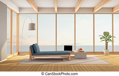 Living room of a minimalist holiday villa