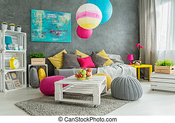 New design grey living room with colorful details and window
