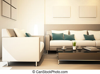 Living room of interior 3d rendering decorated