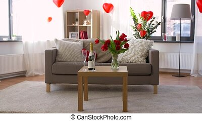 living room or home decorated for valentines day -...