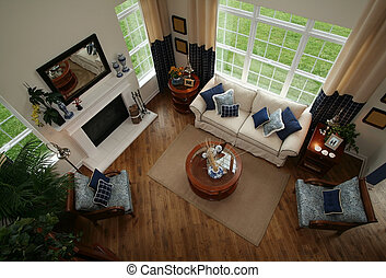 Living Room - Living room with fire place,carpet,wood floors...