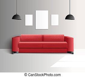 Living Room Realistic Interior - Living room furniture...