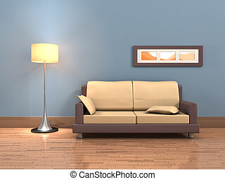 Living room - Rendering of a living room with a sofa and a...
