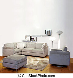 Living room simple - Simple living room with gray seat and...