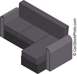 Living room sofa icon, isometric style