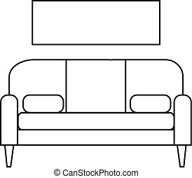 Living room sofa icon, outline style