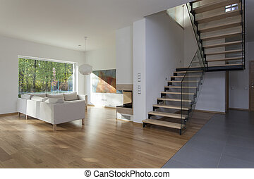 Living room, stairs - Spacious living room and wooden ...