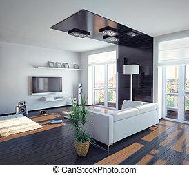living room - modern living room design (illustration)