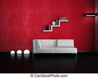 Living room - Modern interior (3D render) - Living room