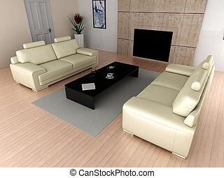 Living room - 3D rendered Illustration. Interior...