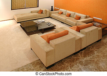 Living room - Sofa set and center table in lavish room