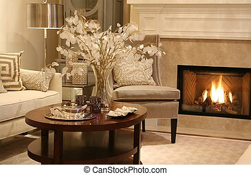 living room - Elegant living room with fireplace turned on....