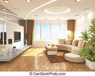 Living room - Modern living room design in 3D rendering