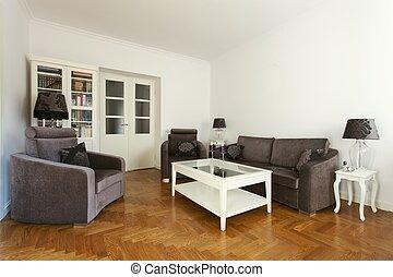 Living room - Stylish living room with purple sofa and...