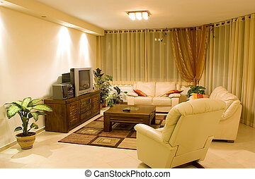 living room suite of soft furniture interior