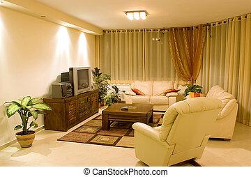 living room suite of soft furniture interior