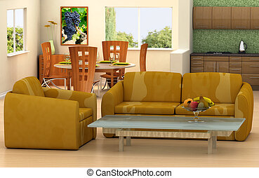 Living room - The picture on the wall is my own image. ...