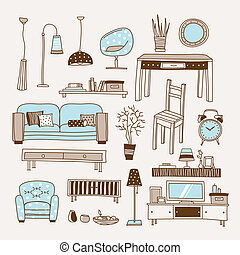 Living room vector - Set of vector icons for living room