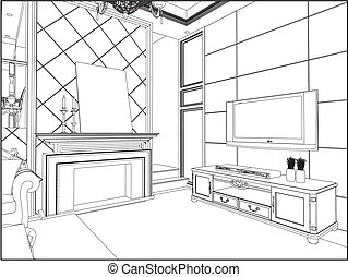 An Empty Living Room Clipartby Colematt13 648 Vector