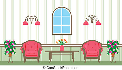 Living room - Vector illustration. It is created in the ...