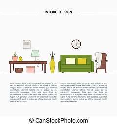Living room vector template.
