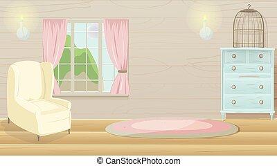 Living Room Vintage Cartoon Background Vector