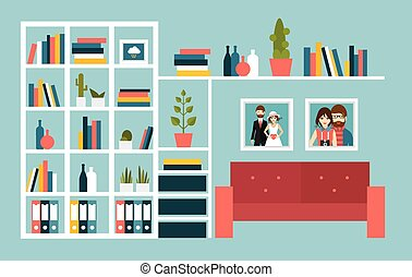 Living room wall with red sofa and book shelves. Flat design...