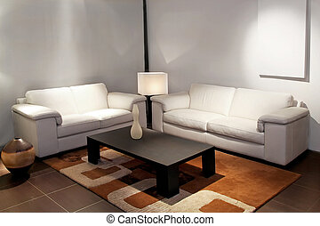 Living room white - Modern living room with two leather...