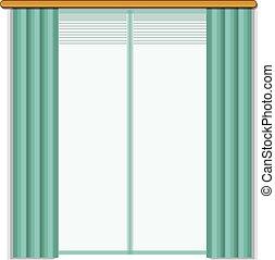 Living room window icon, cartoon style