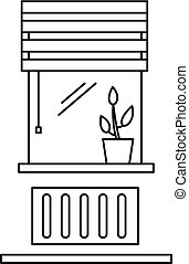 Living room window icon, outline style