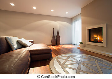 Living room with a fireplace - Interior of living room with...