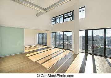 Living room with balcony view
