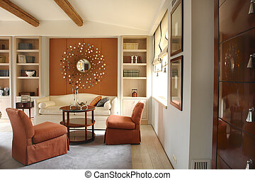 Living room with beautiful mirror