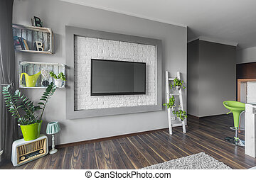Living room with big tv
