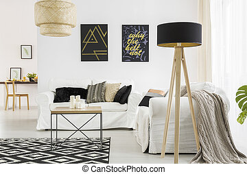 Living room with black lamp - Trendy living room with white ...