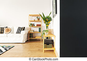 Living room with black wall