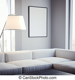 Living room with blank picture frame on the wall. 3d rendering