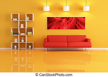 living room with bookcase and red leather sofa - living room...