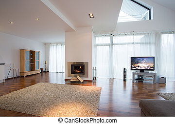 Living room with carpet - Big bright living room with soft...