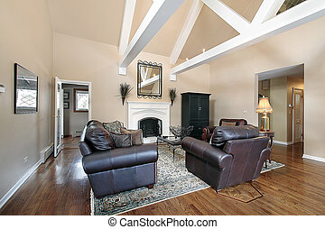Living room with ceiling beams