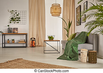 Living room with chandelier, sofa and beige window curtains