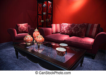 living room with china ware